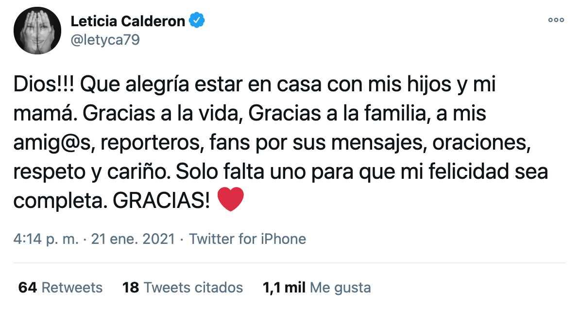 Lety Calderón anuncia su salida del hospital