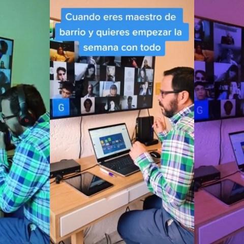 Maestro manda saludos a sus alumnos con cumbiones de sonidero en clase virtual