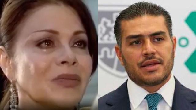 María Sorté llorando por el atentado de su hijo Omar García Harfuch