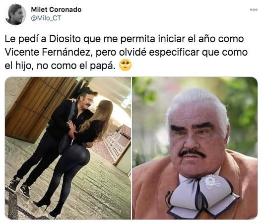 Meme de Vicente Fernández con su hijo moño apretado