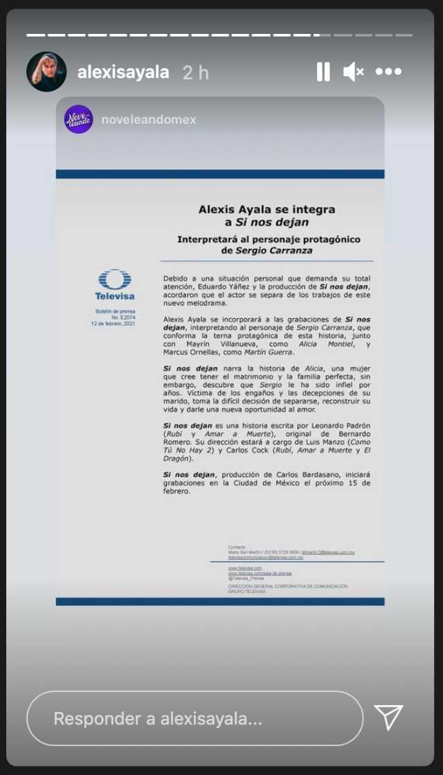 Alexis Ayala anuncia su participación en Si nos dejan