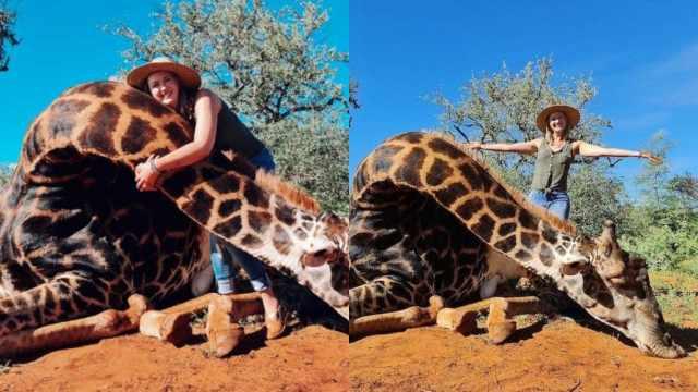 Mujer posa con jirafa muerta