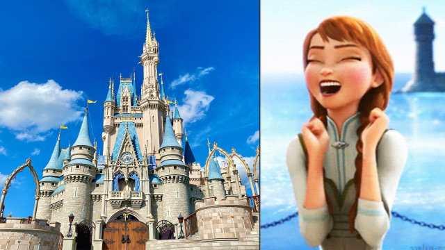 Castillo de Disney y meme de Anna