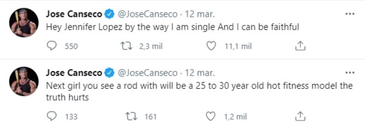 tweets José Canseco para JLo