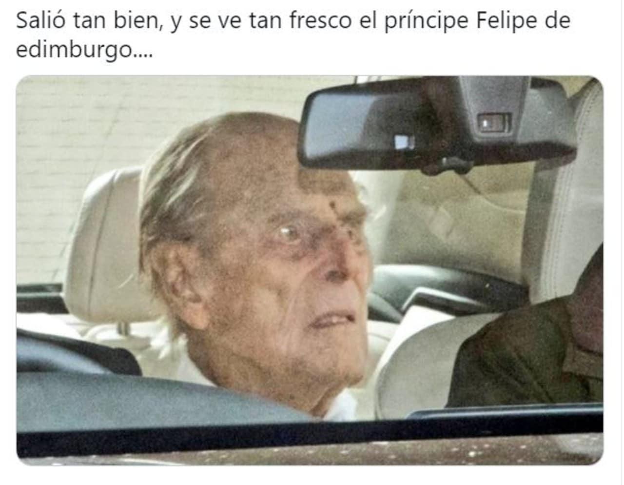 memes principe felipe saliendo hospital