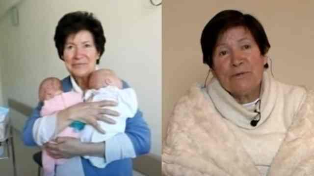 Mujer 64 años tiene mellizos