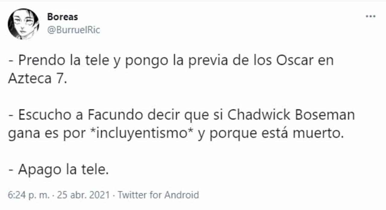Premios Oscar 2021 Facundo burla Chadwick Boseman incluyentismo