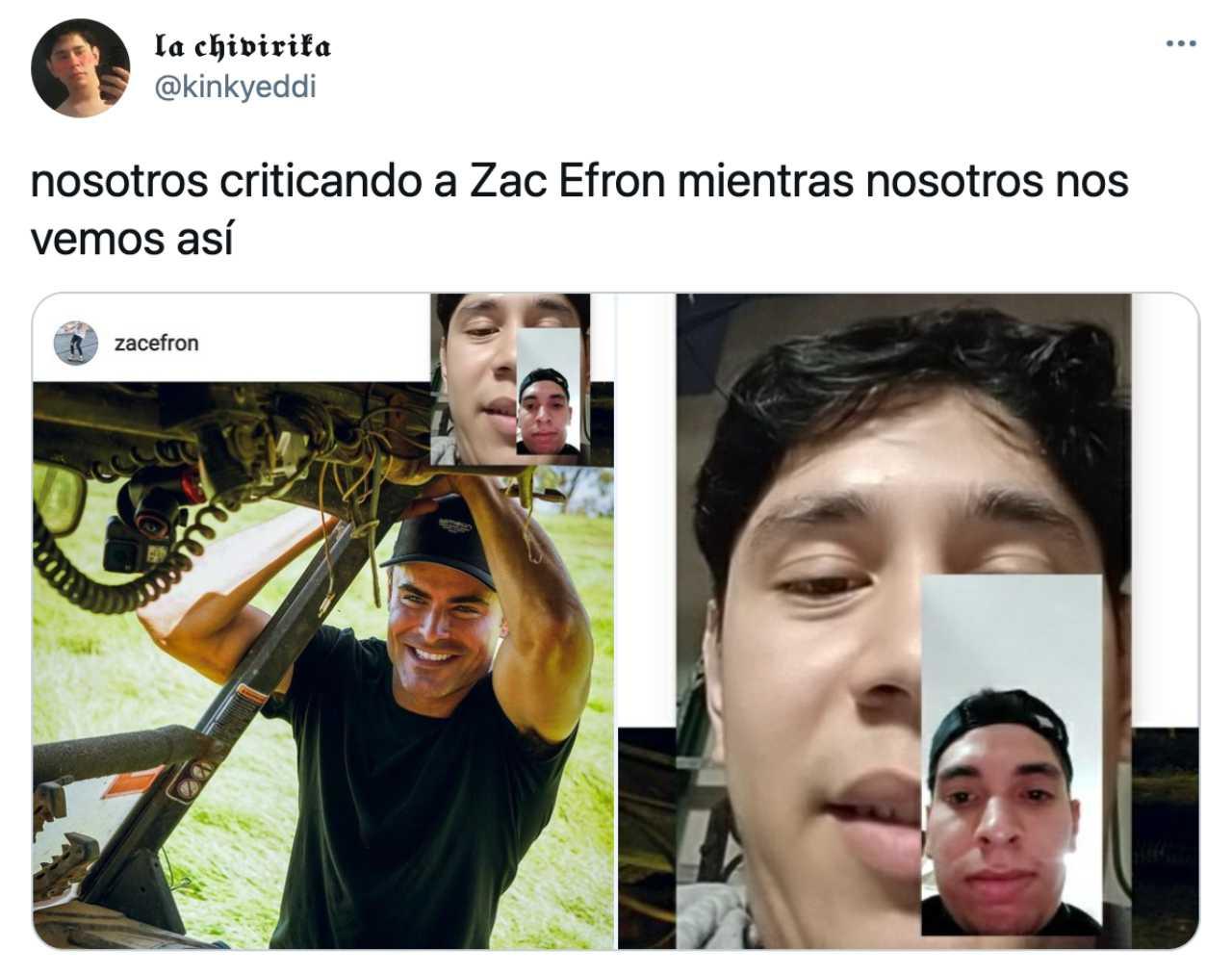 Meme de las críticas a Zac Efron por su rostro