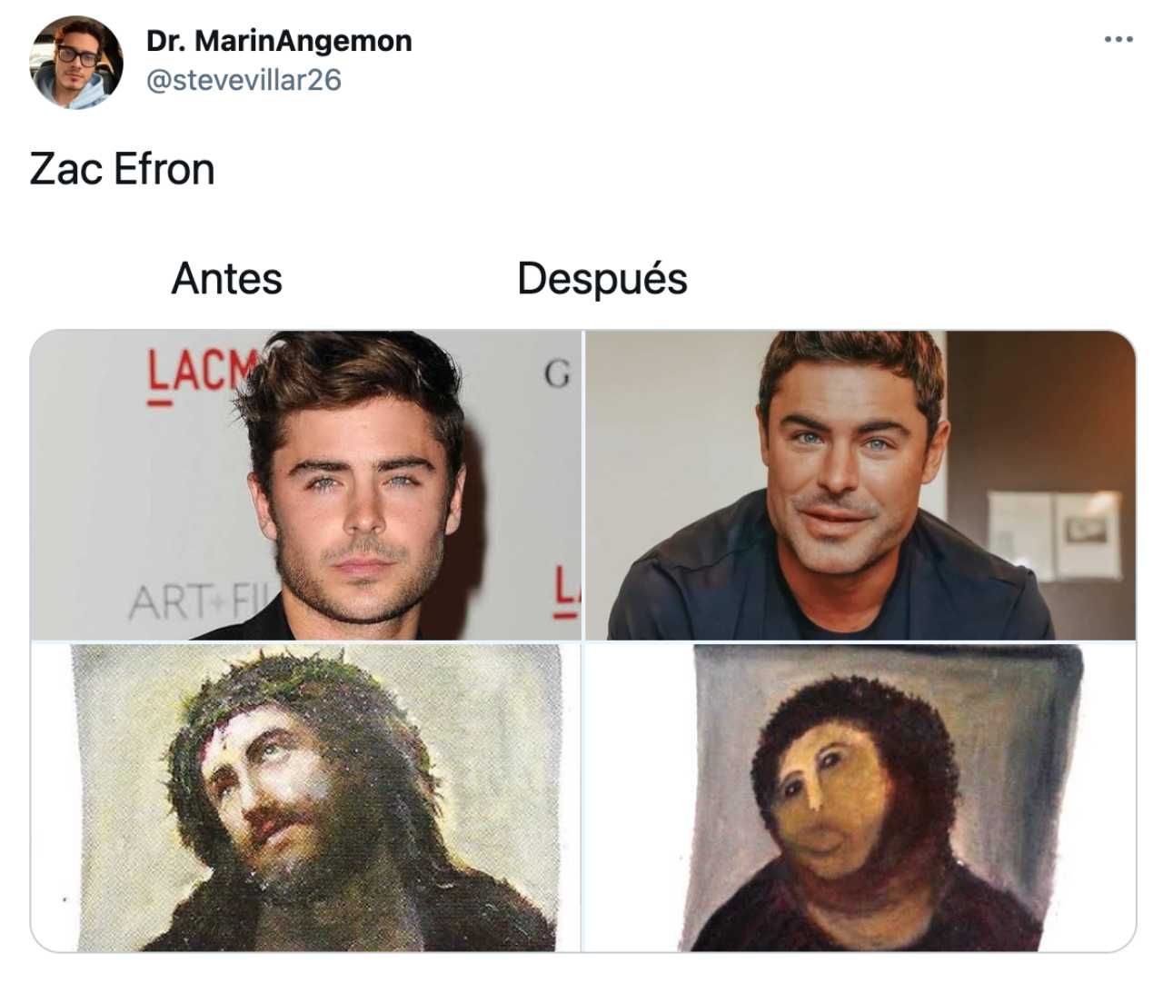 Zac Efron quedó como el Ecce Homo en meme