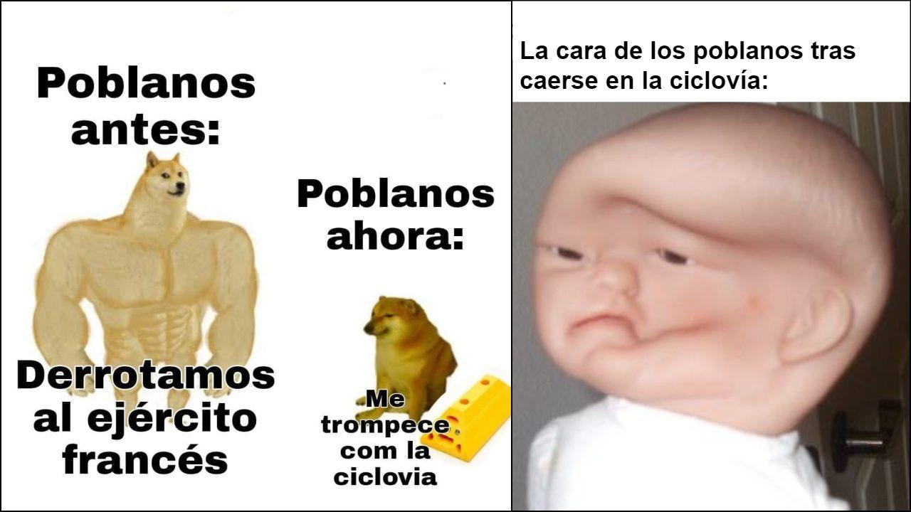 Los mejores memes de las caídas de los poblanos en la ciclovía