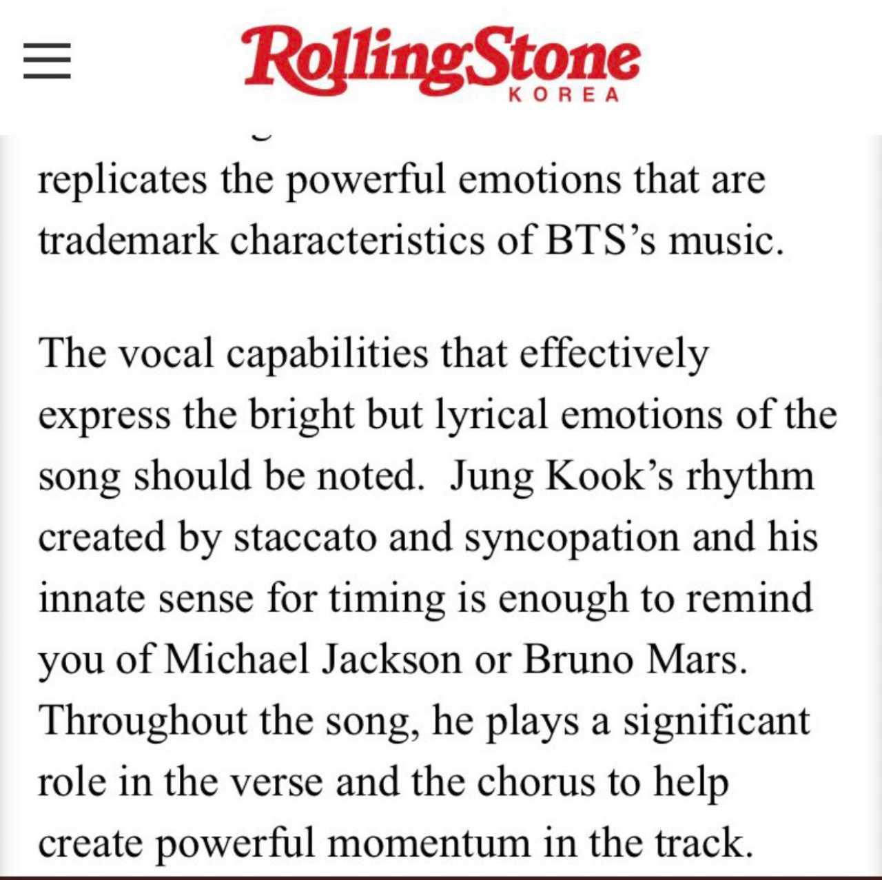 Comunicado de Rolling Stone Corea