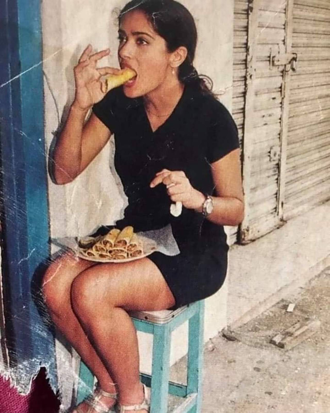Salma Hayek comiendo tacos foto inédita