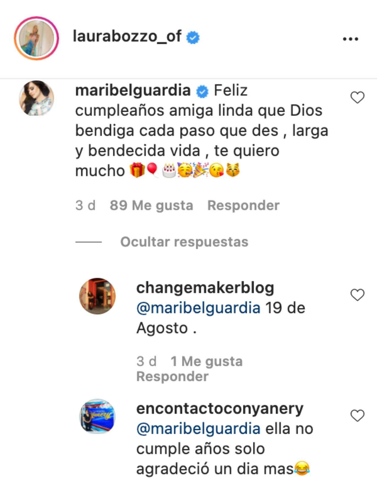 Laura Bozzo recibió un comentario de Maribel