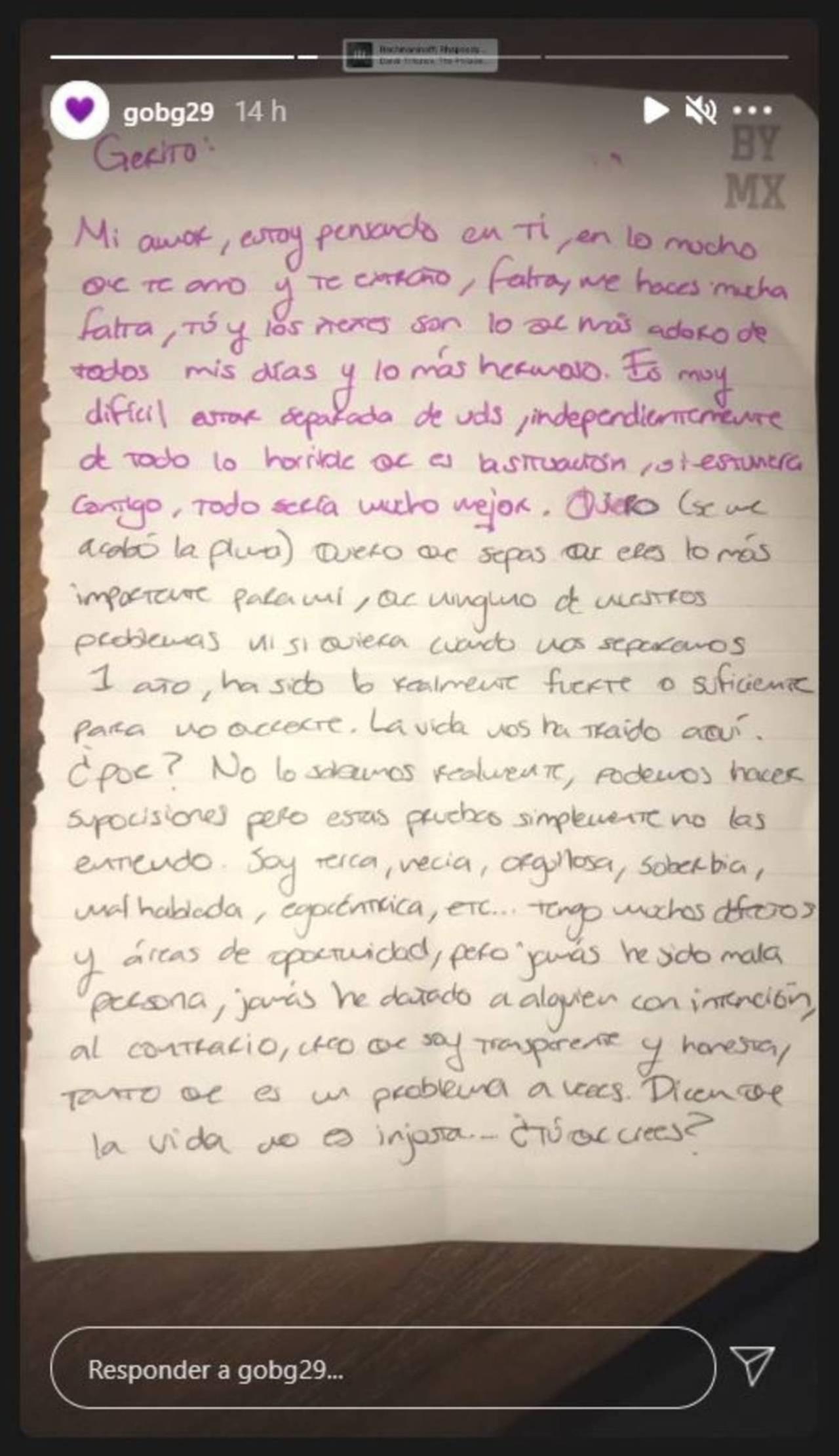 Carta de YosStop: Análisis grafológico