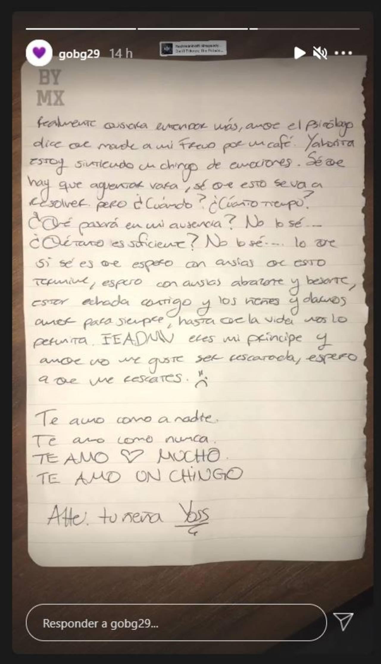 La carta que envió YosStop desde la cárcel a su novio
