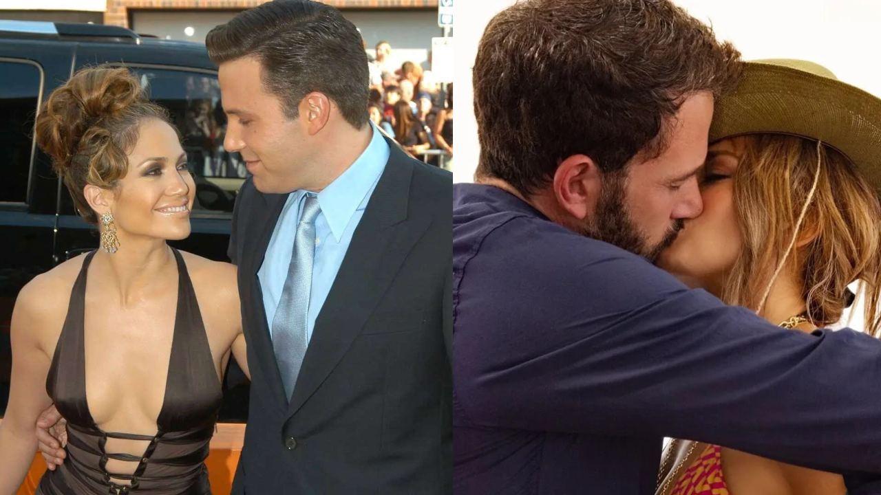Jlo y Ben Affleck besandose anillo