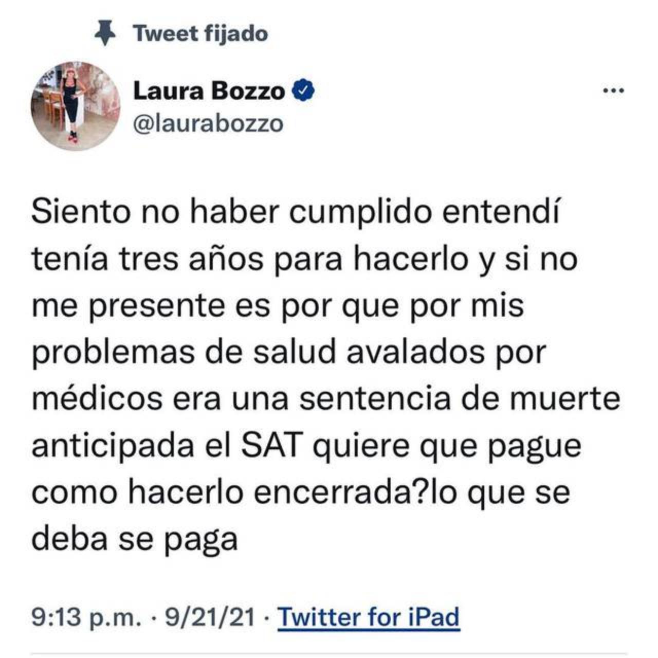 Laura Bozzo escribe tweet estar profuga