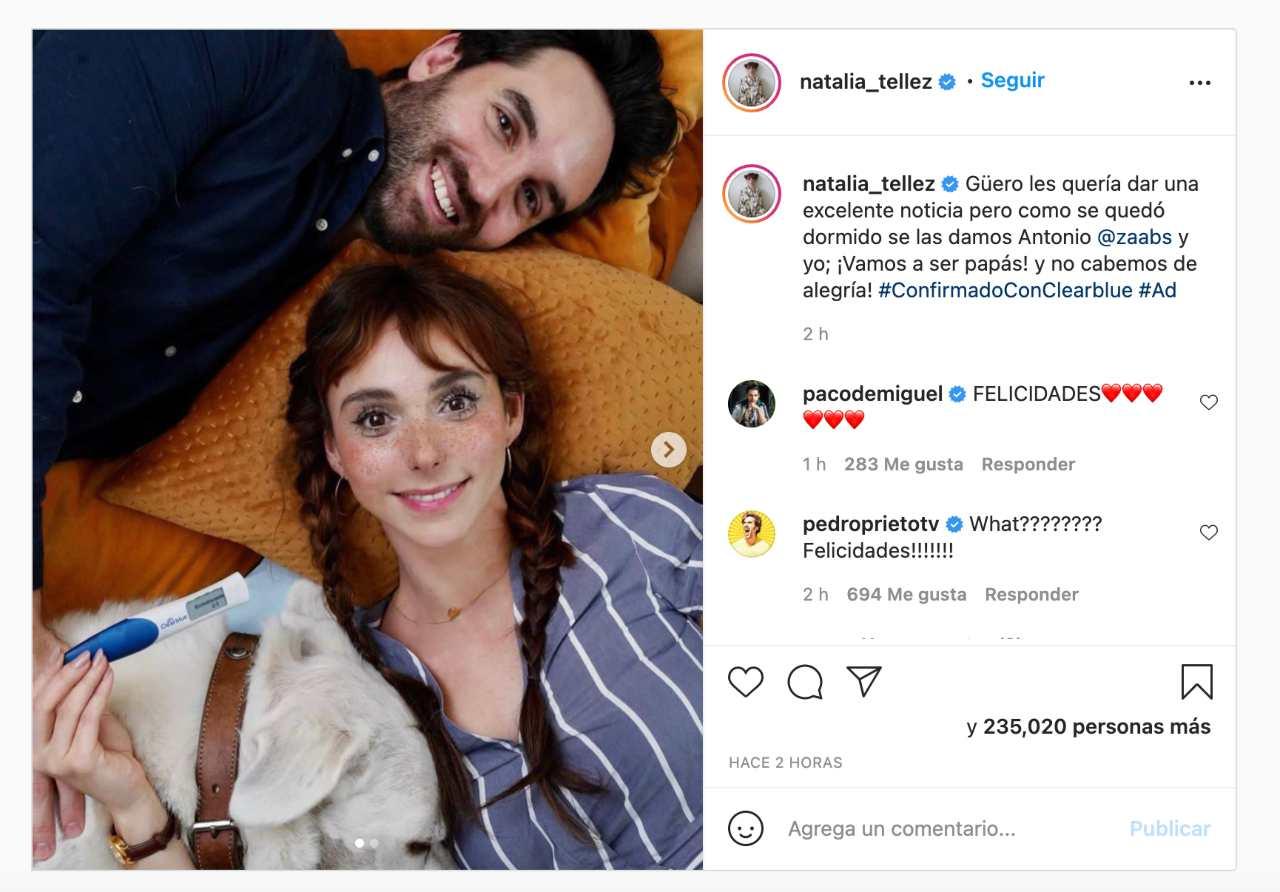 Natalia Téllez está esperando bebé