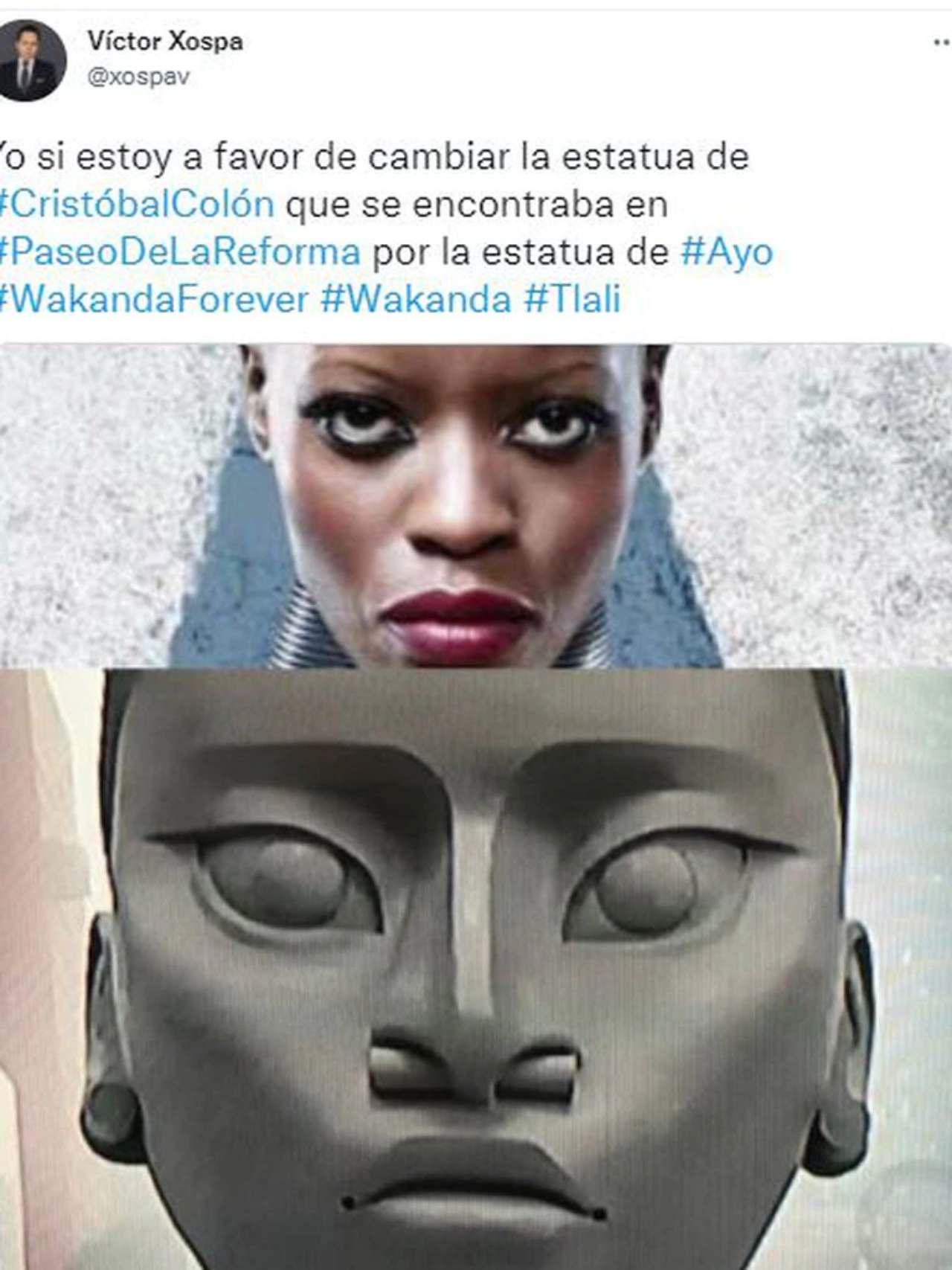wakanda colón estatua indigena