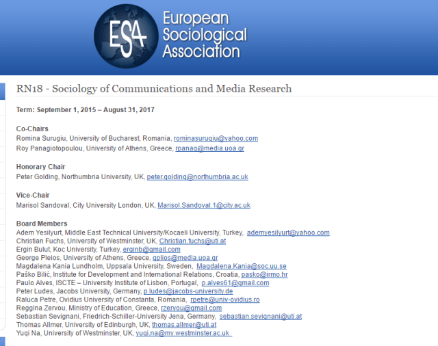 ESA European Sociological Association RN18 Sociology of Communications and Media Research