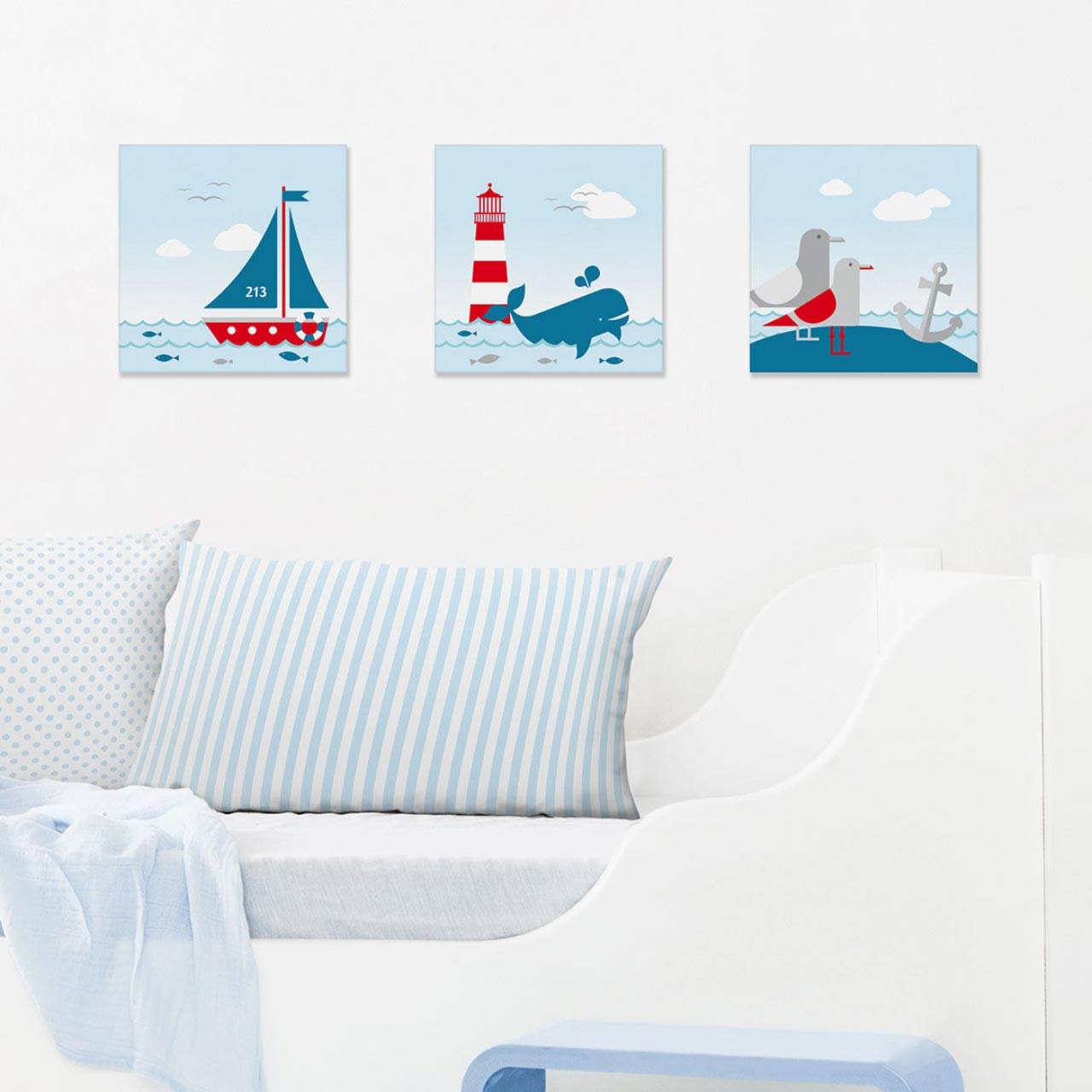 Maritimen Bilder-set Im Maritimen Design, Sailing Red - Erler+pless