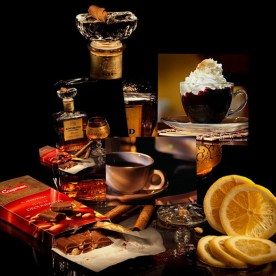 cognac, coffee and orange
