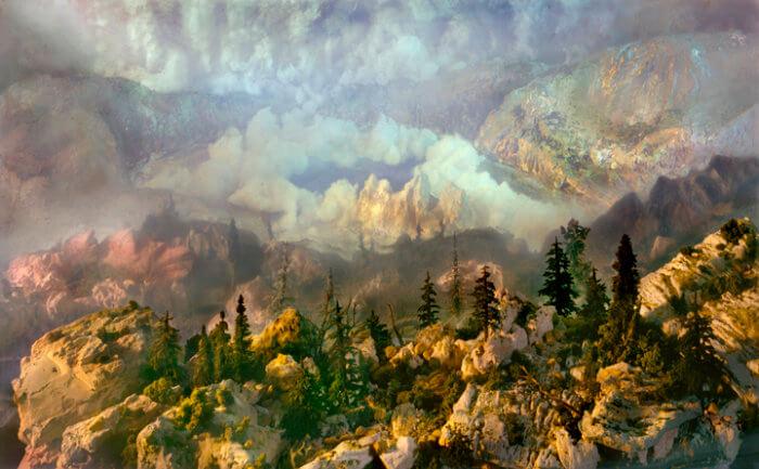 Kim Keever. Картина под водой – горы и леса