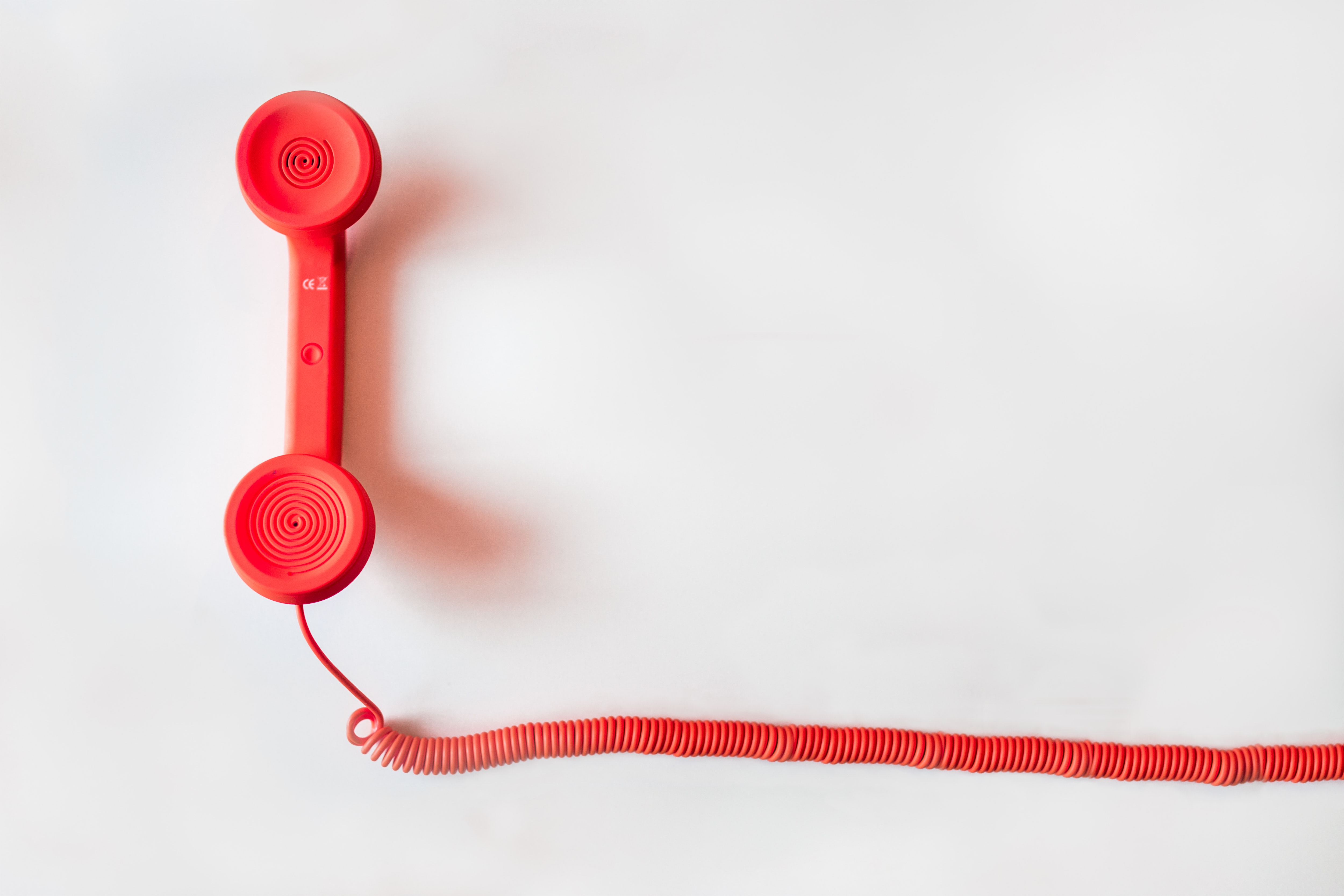 red telephone with cable