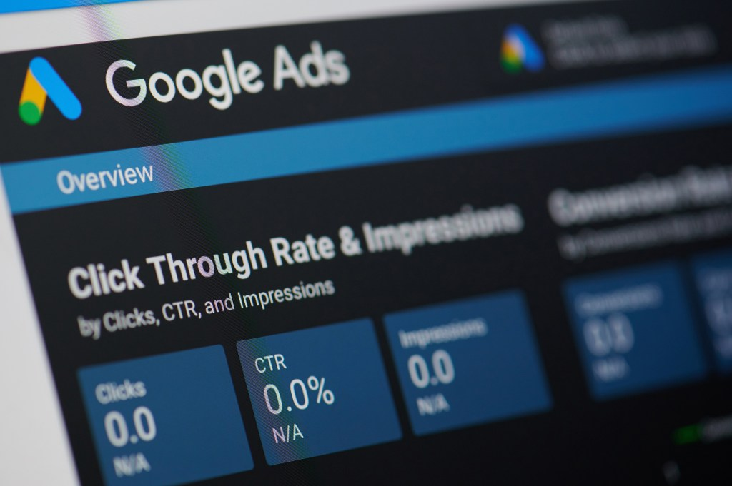 Close up of Google Ads dashboard