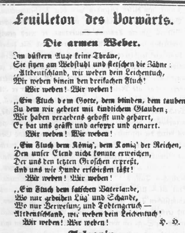 Heinrich Heine, Die armen Weber, 1844 auf der Titelsete des Vorwärts!