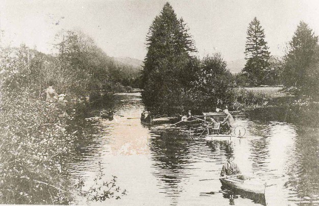 Wassersport auf der Agger, um 1900