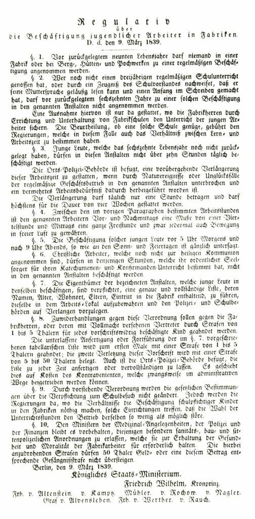 Regulativ zur Beschäftigung jugendlicher Arbeiter in Fabrikenvon 1839