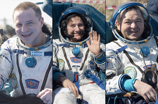 I tre astronauti al loro ritorno