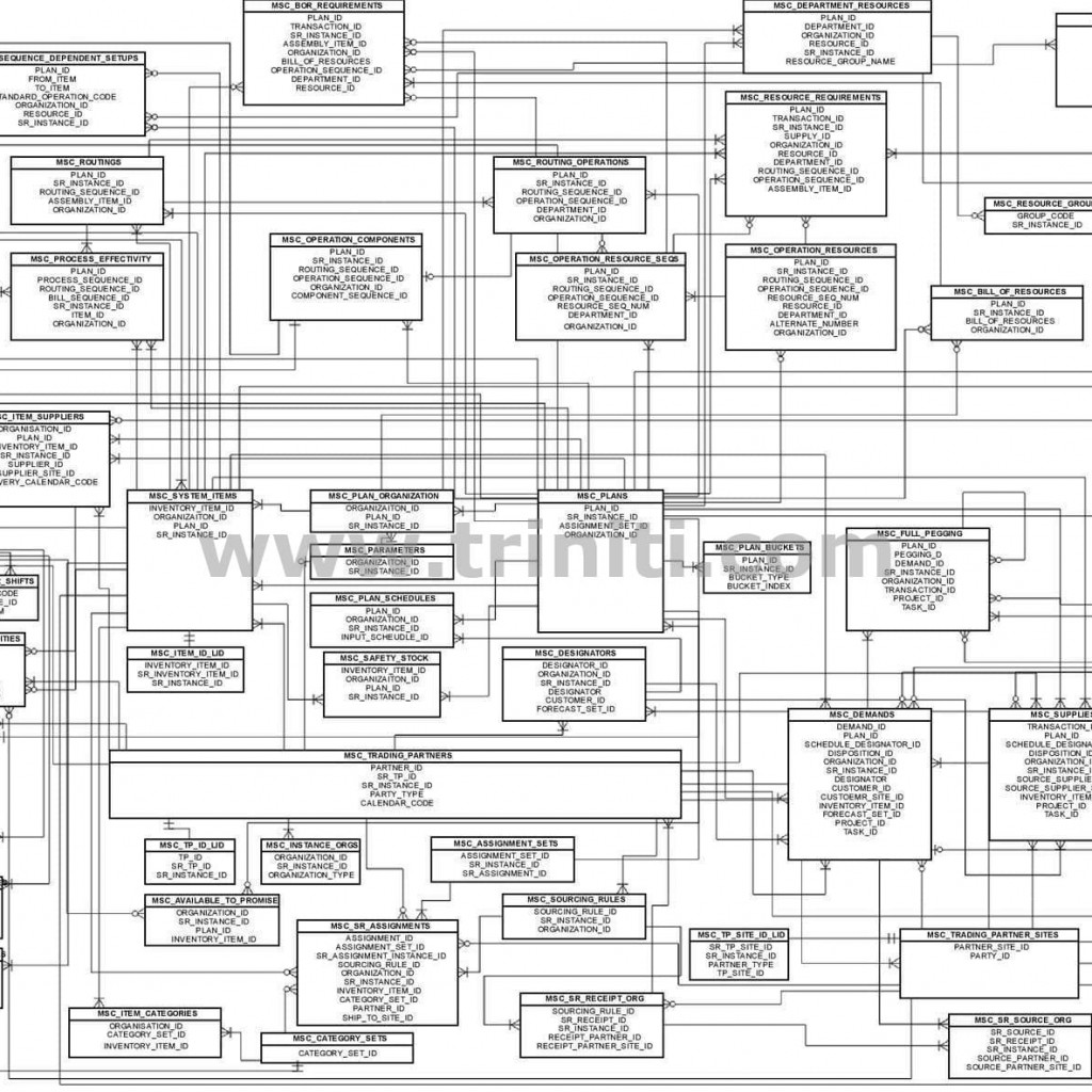 Oracle Advanced Supply Chain Planning Ascp Er Diagram