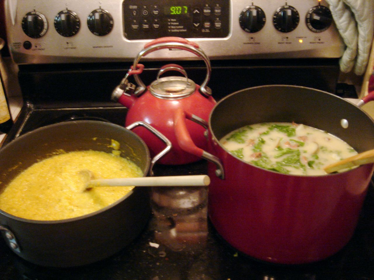 Squash soup on left, zuppa toscana on right. And yes, I was making soup at 9:00 Wednesday night...