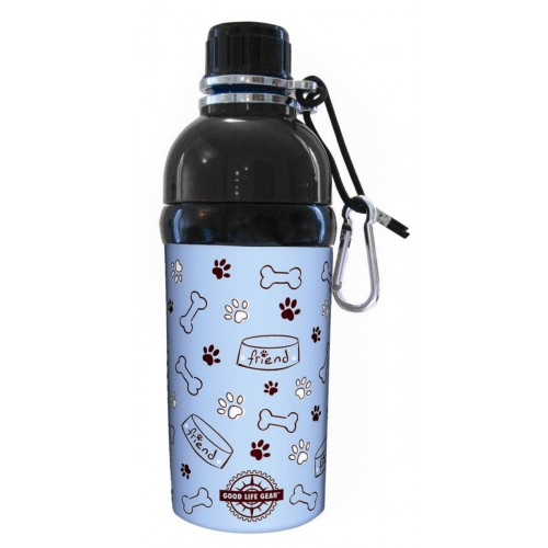 Long Paws water bottle with bowl, bone and paw print design