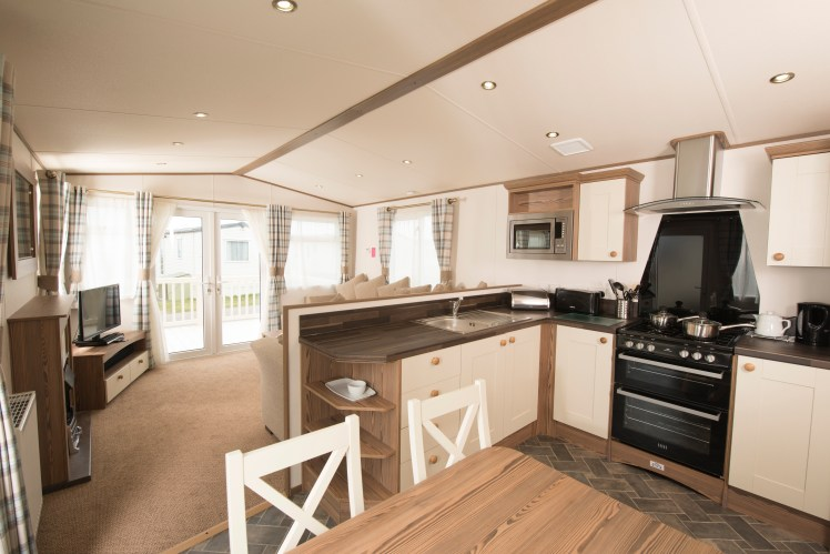 A typical kitchen/diner in one of the caravans at Lower Hyde Holiday Park