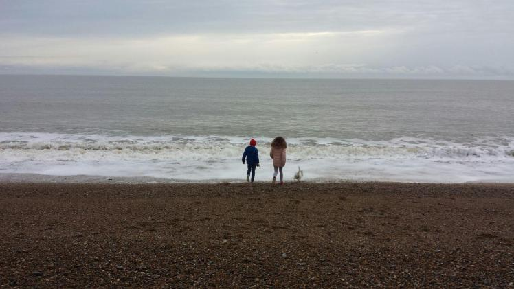 Ernie with my niece and nephew on Dunwich Beach
