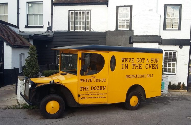 Retro delivery van at The White Horse, Dorking