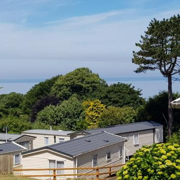 Sea view from our caravan at Combe Martin Beach Holiday Park