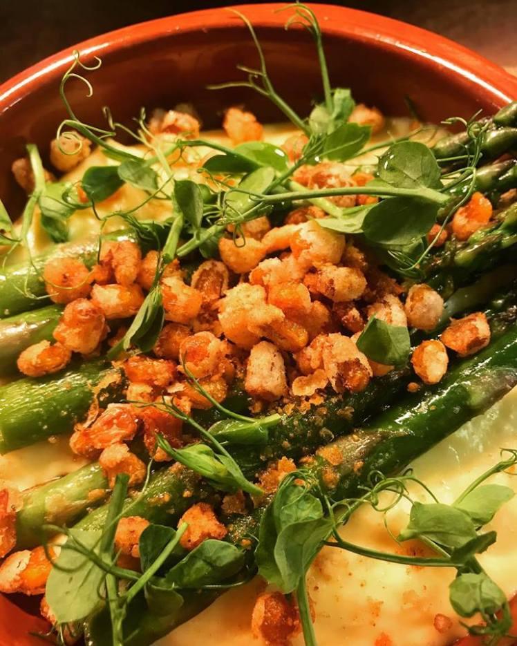 Seasonal asparagus at The Blue Bell, Langham
