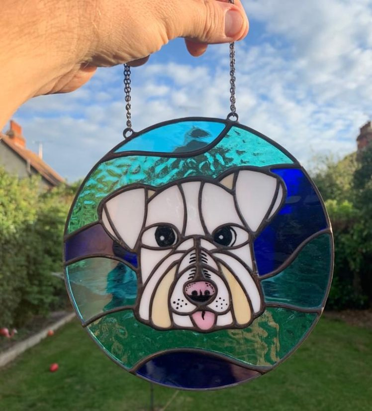 Stained glass portrait of Ernie