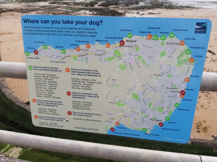 Map explaining what beaches welcome dogs in Thanet