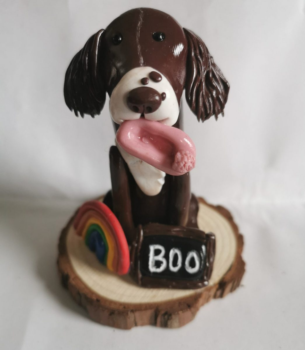 Clay Spaniel with slipper, rainbow and name