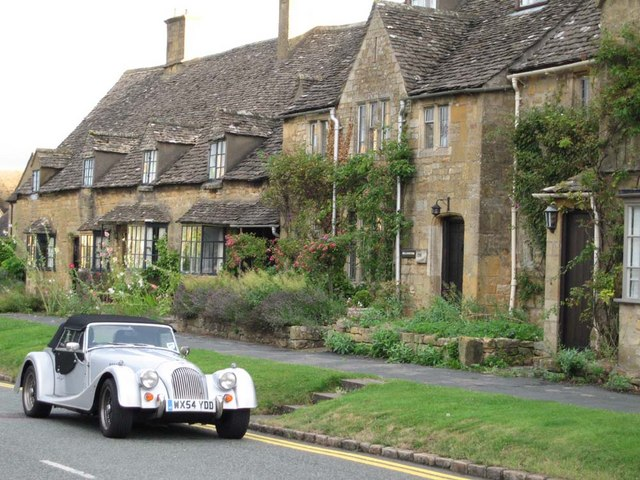 A vintage car in the Cotswolds town of Broadway