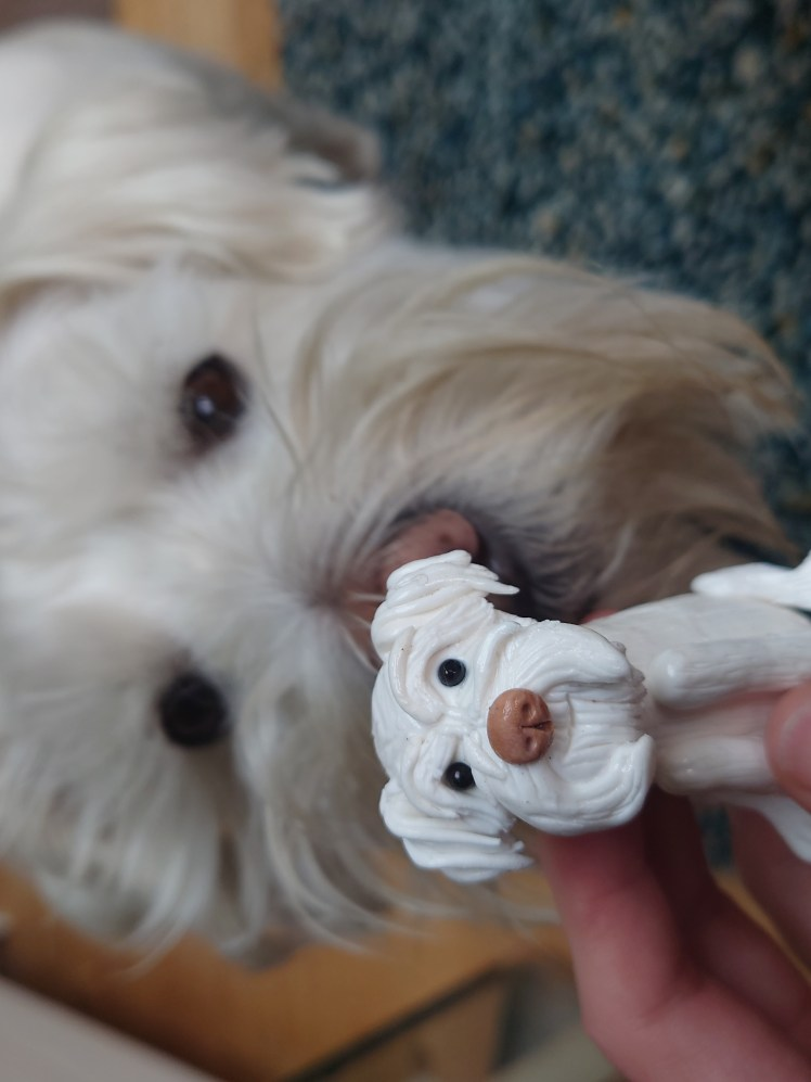 Ernie with his clay miniature from Karen's Clay Creations