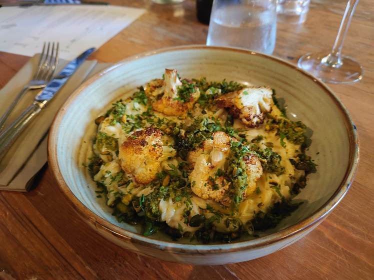 Roasted cauliflower, goats cheese and orzo pasta dish at The Black Lion, Long Melford