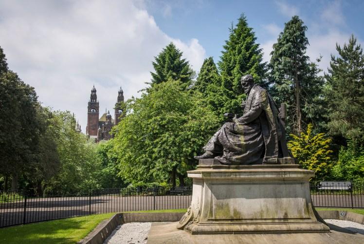 A statue of Lord Kelvin in Kelvingrove Park, Glasgow