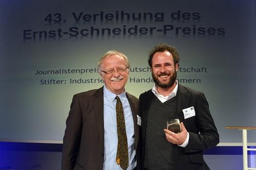 Laudator Hans Leyendecker (Ressortleiter Investigative Recherche Süddeutsche Zeitung), Preisträger Marian Blasberg (Die Zeit)