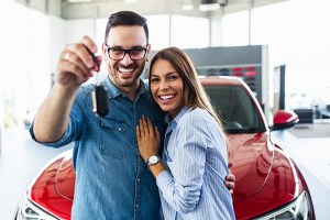 Happy Couple with Car Keys